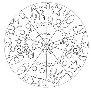Easy Mandala for kids with little fish (hand drawn)