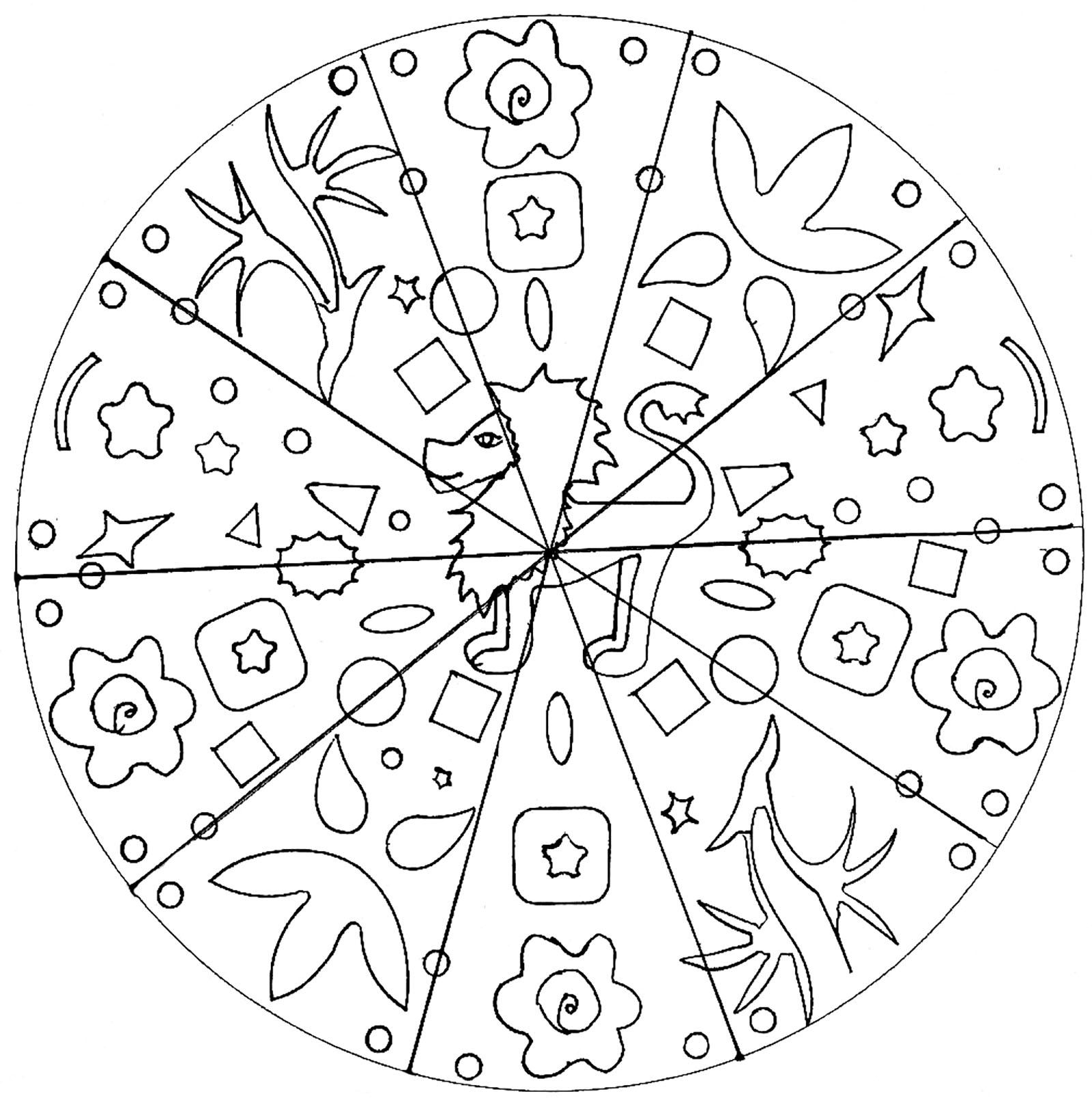 Simple Mandala For Kids With Lion Hand Drawn Easy Mandalas