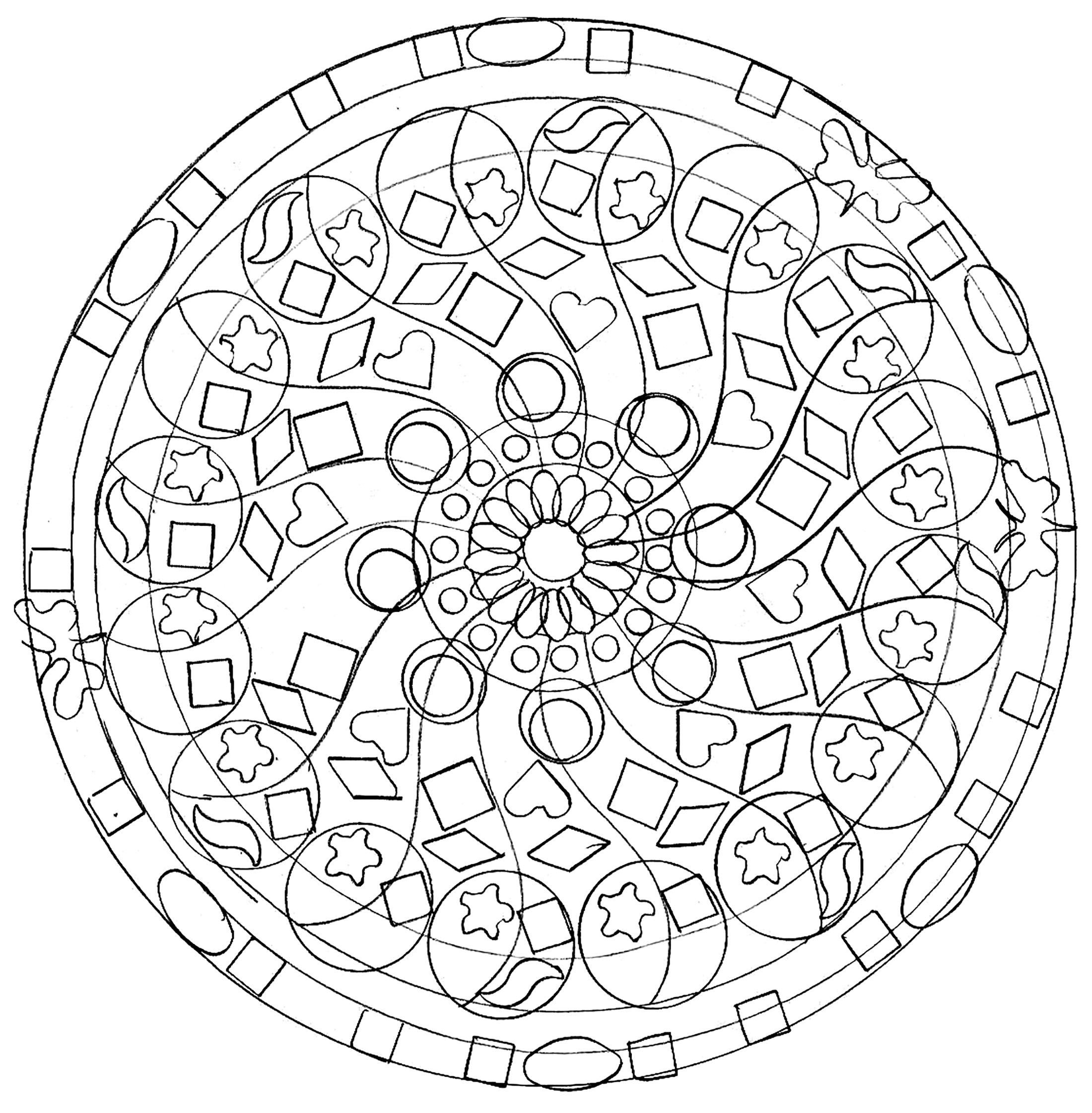A mandala coloring page for the children, very easy. Coloring is proven therapeutic for some kids. They vent their feelings, frustrations and other emotions though coloring.