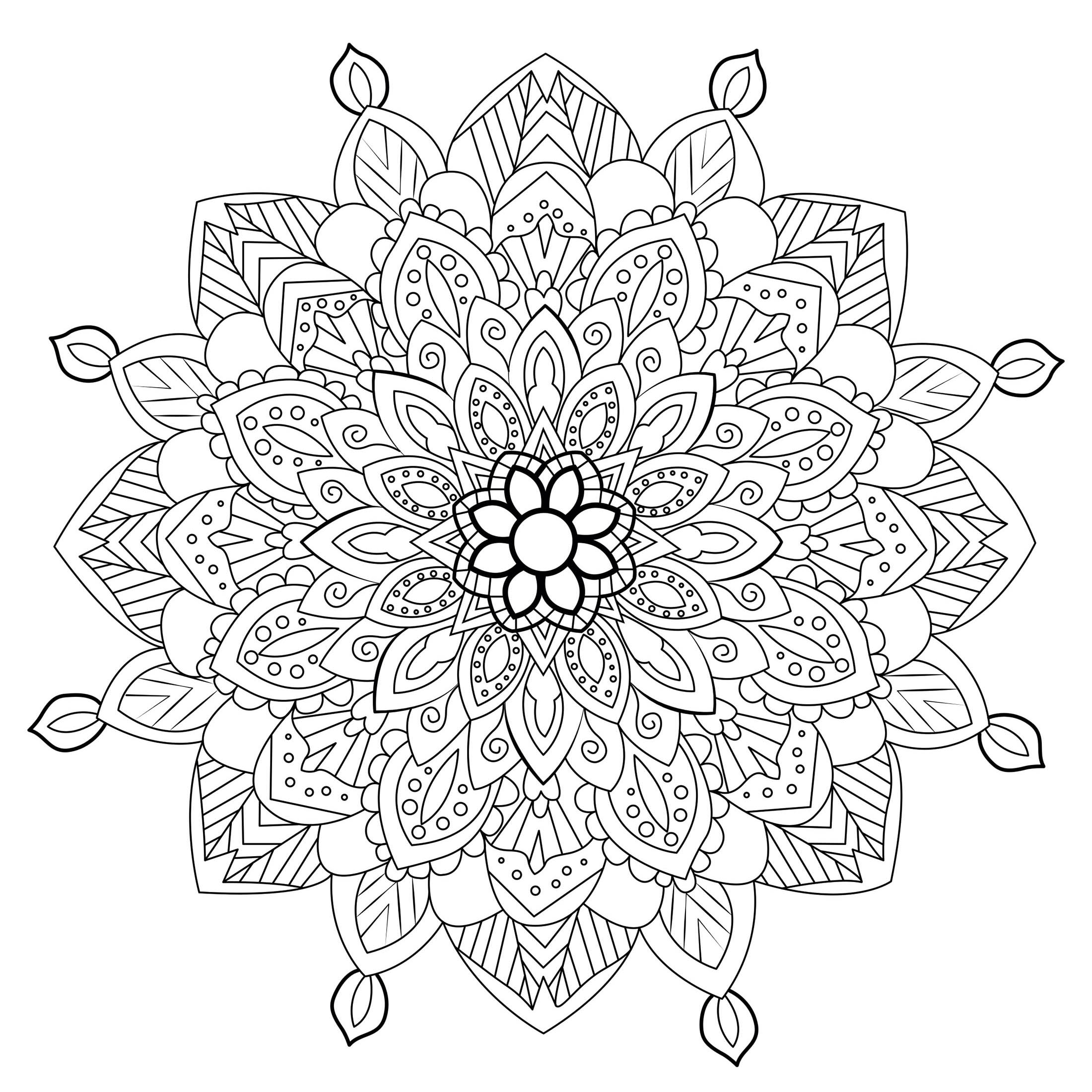 In this Mandala, the abstract shapes become vegetal ... Print it for free and color it ! You must clear your mind and allow yourself to forget all your worries and responsibilities.