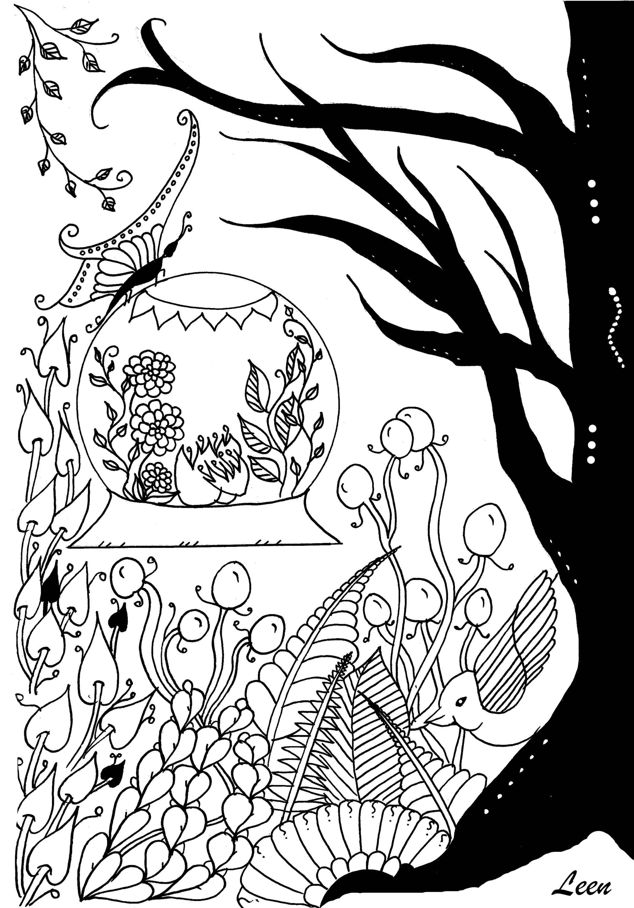 coloring page flowers and vegetation tree free to print