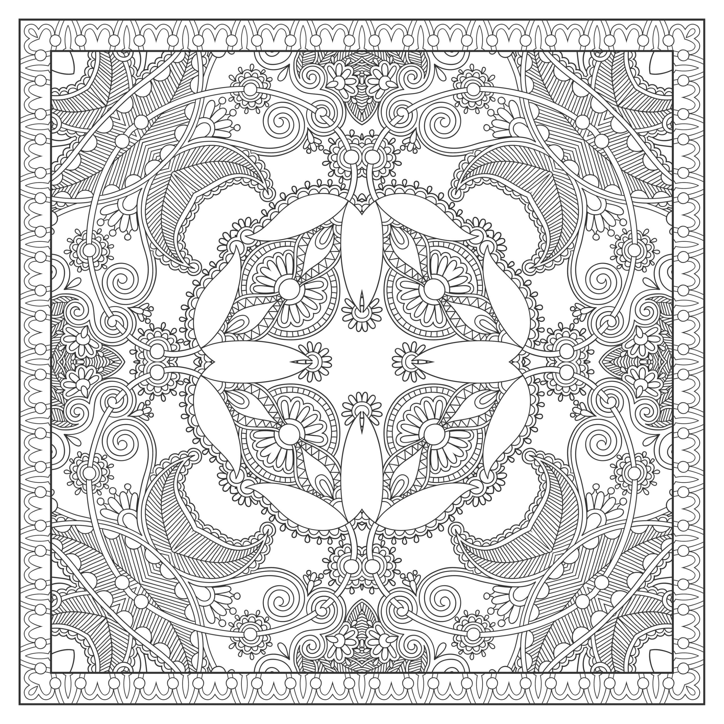 Difficult Square Mandala drawing inspired by nature, by Karakotsya. In this Mandala, the vegetal world is perfectly integrated. Print it for free and color it ! You must clear your mind and allow yourself to forget all your worries and responsibilities.