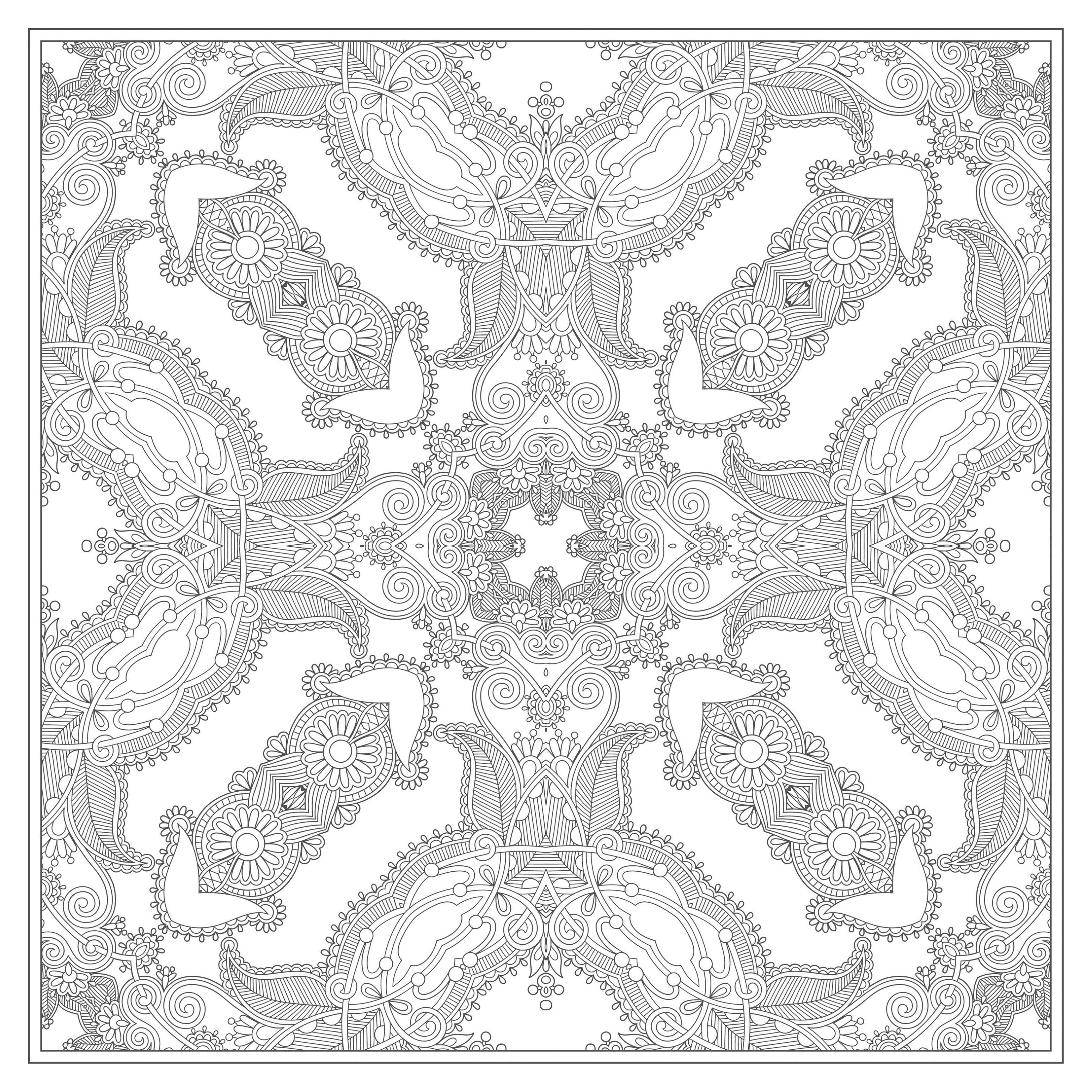 Square Mandala drawing with little vegetal elements, by Karakotsya. A magnificent vegetation invades this magnificent Mandala : flowers, leaves ... Do whatever it takes to get rid of any distractions that may interfere with your coloring.