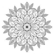 Mandala leaves and flowers