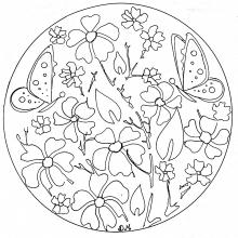 mandala to print flowers butterflies