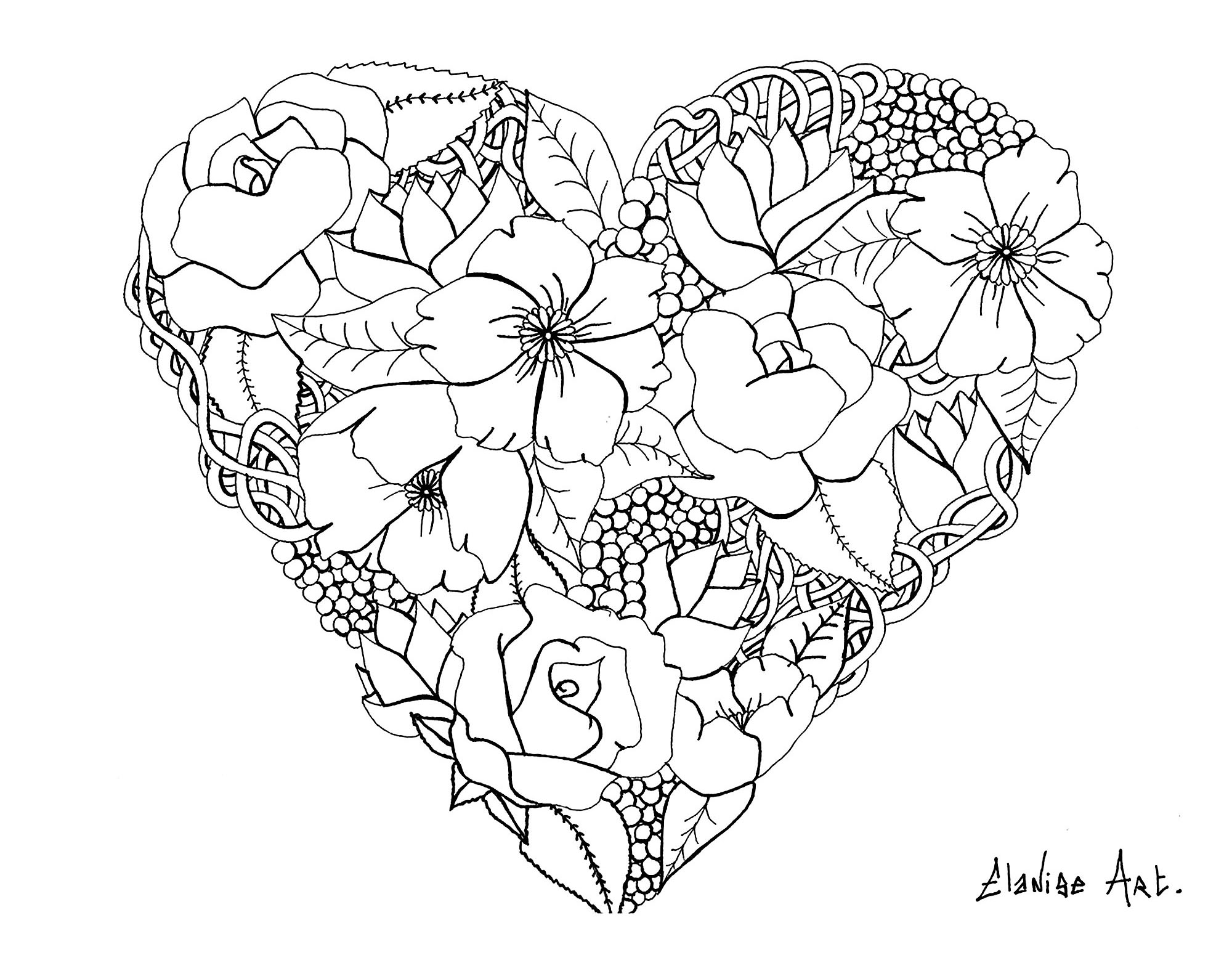 Mandala elanise art flowers in a heart