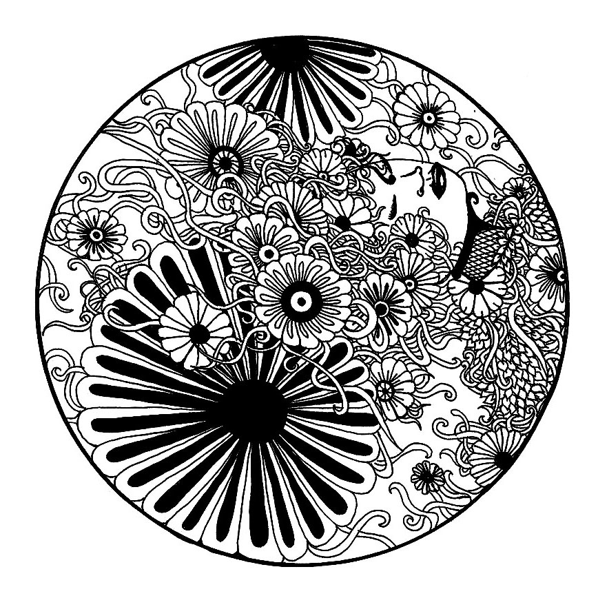 Black & white flowers. The plant elements often marry very well with the Mandalas, like in this exclusive drawing. Mandalas offer balancing visual elements, symbolizing unity and harmony.