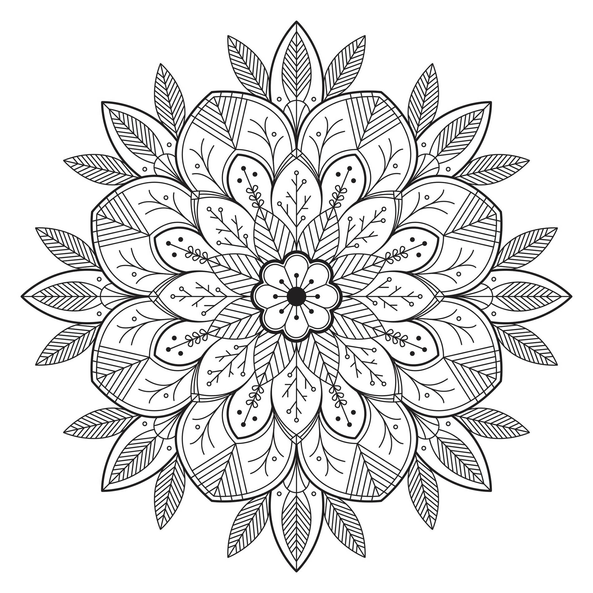 Leaves & Flowers to color in a beautiful Mandala. The vegetal elements often marry very well with this type of drawings, discover it with this incredible Mandala. We advise you clear your mind and allow yourself to forget all your worries to enjoy this moment of creativity.
