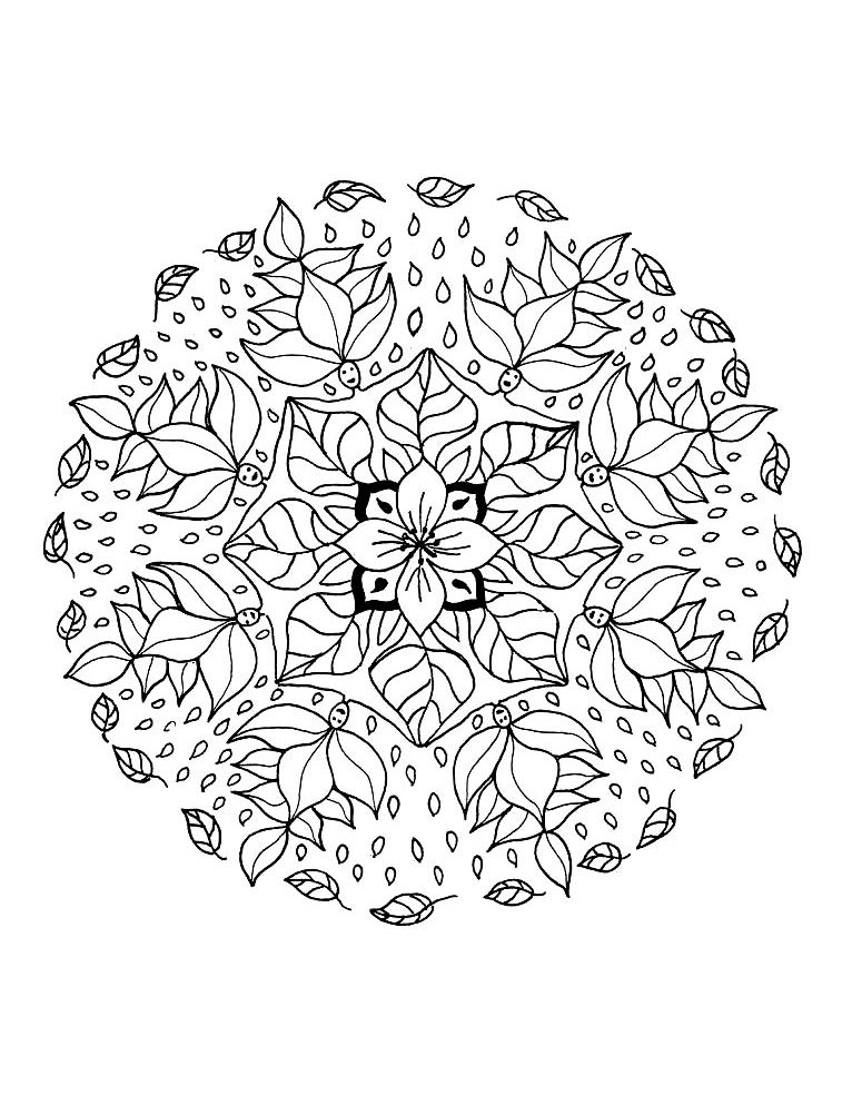 Mandala To Color Flowers Vegetation To Print 10