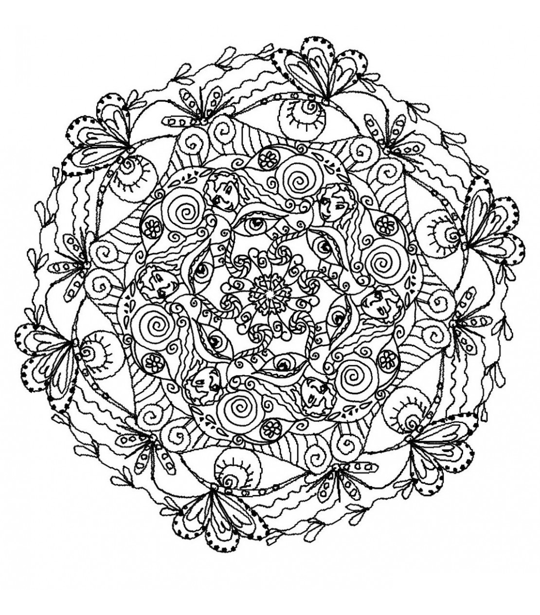 Mandala to color flowers vegetation to print 14 - Mandalas with ...