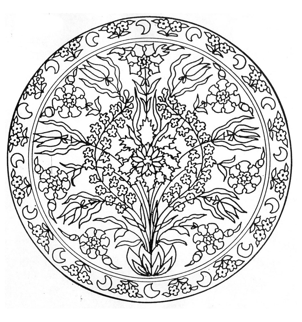 Mandala with a flower in a vase - Mandalas with Flowers & vegetation ...