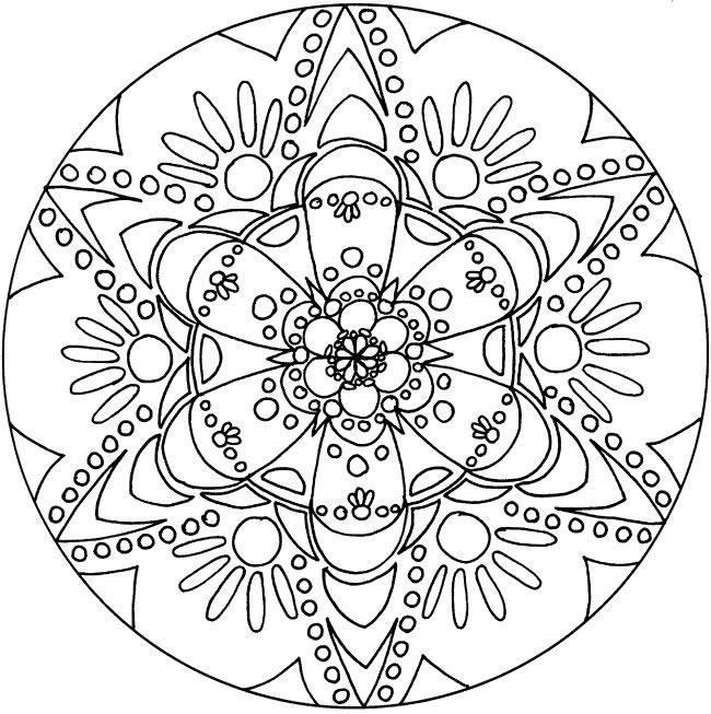 Coloriage Mandala Nature.Simple Flowered Mandala Mandalas With Flowers Vegetation 100