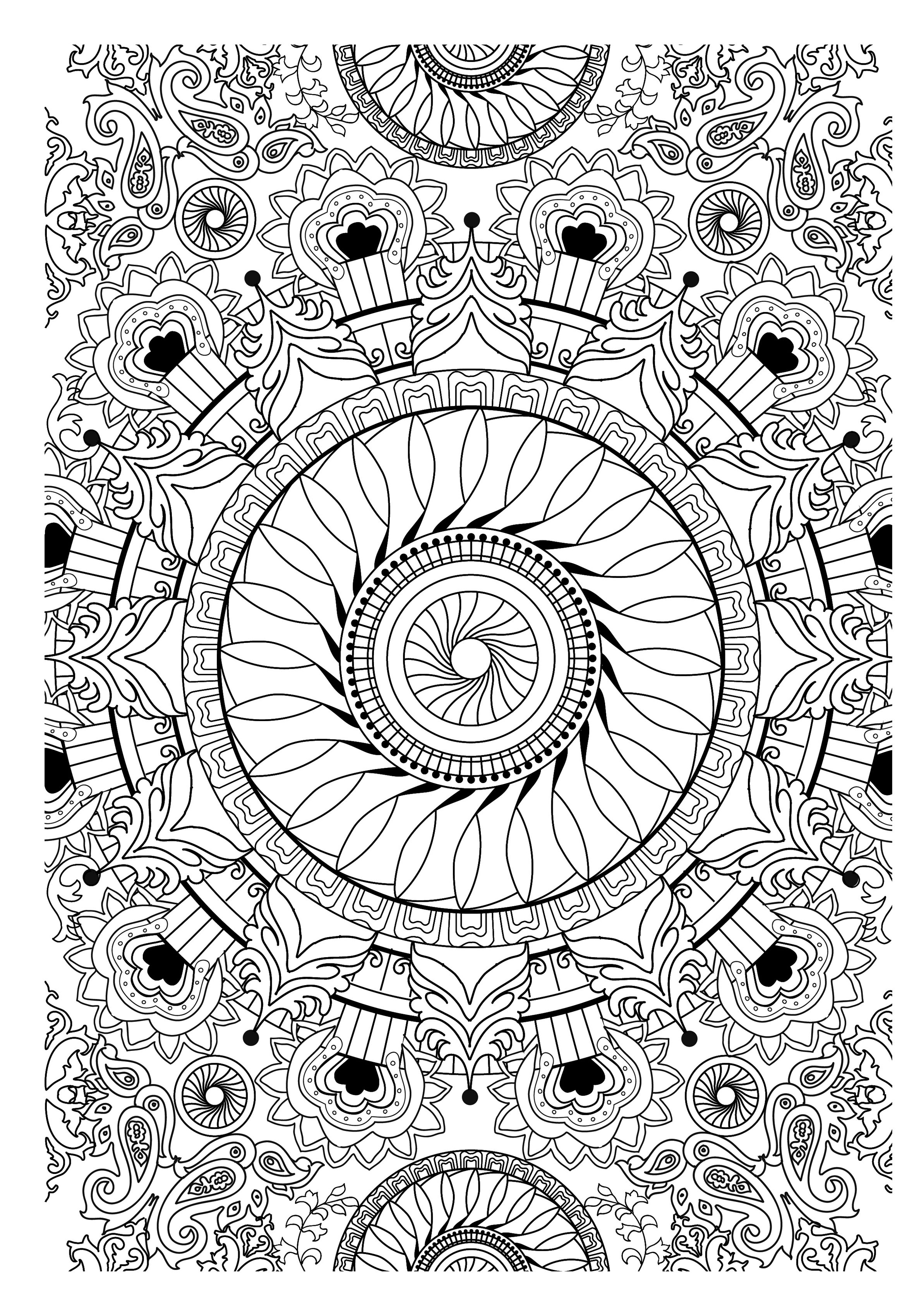 Very Complex Mandala Template Composing An Whole Sheet A Lot Of Details