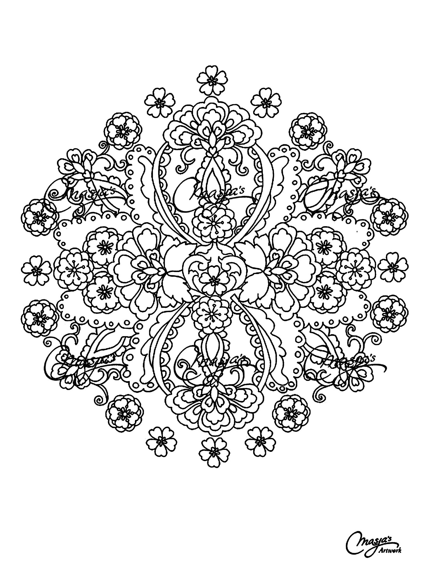 mandala to color flowers vegetation to print 5 mandalas with
