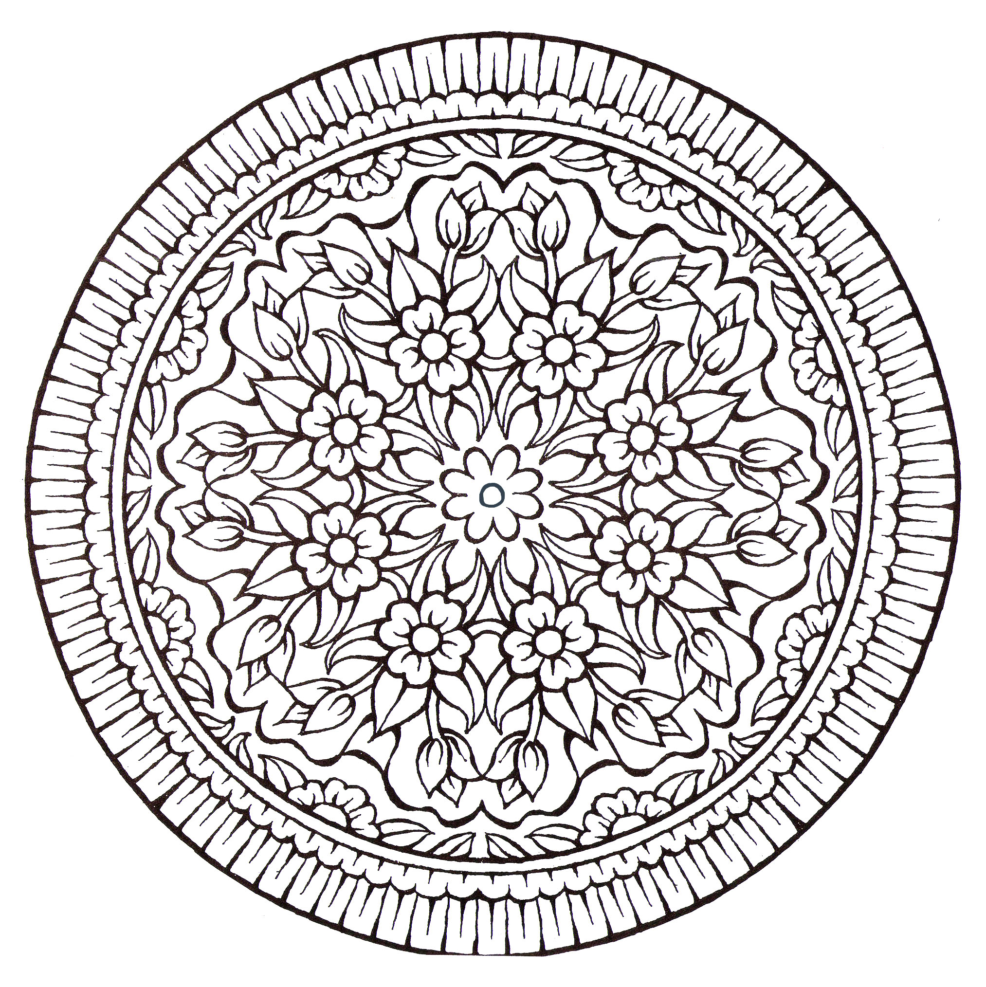 The plant elements often marry very well with the Mandalas, it is the case with this coloring page of a great originality.