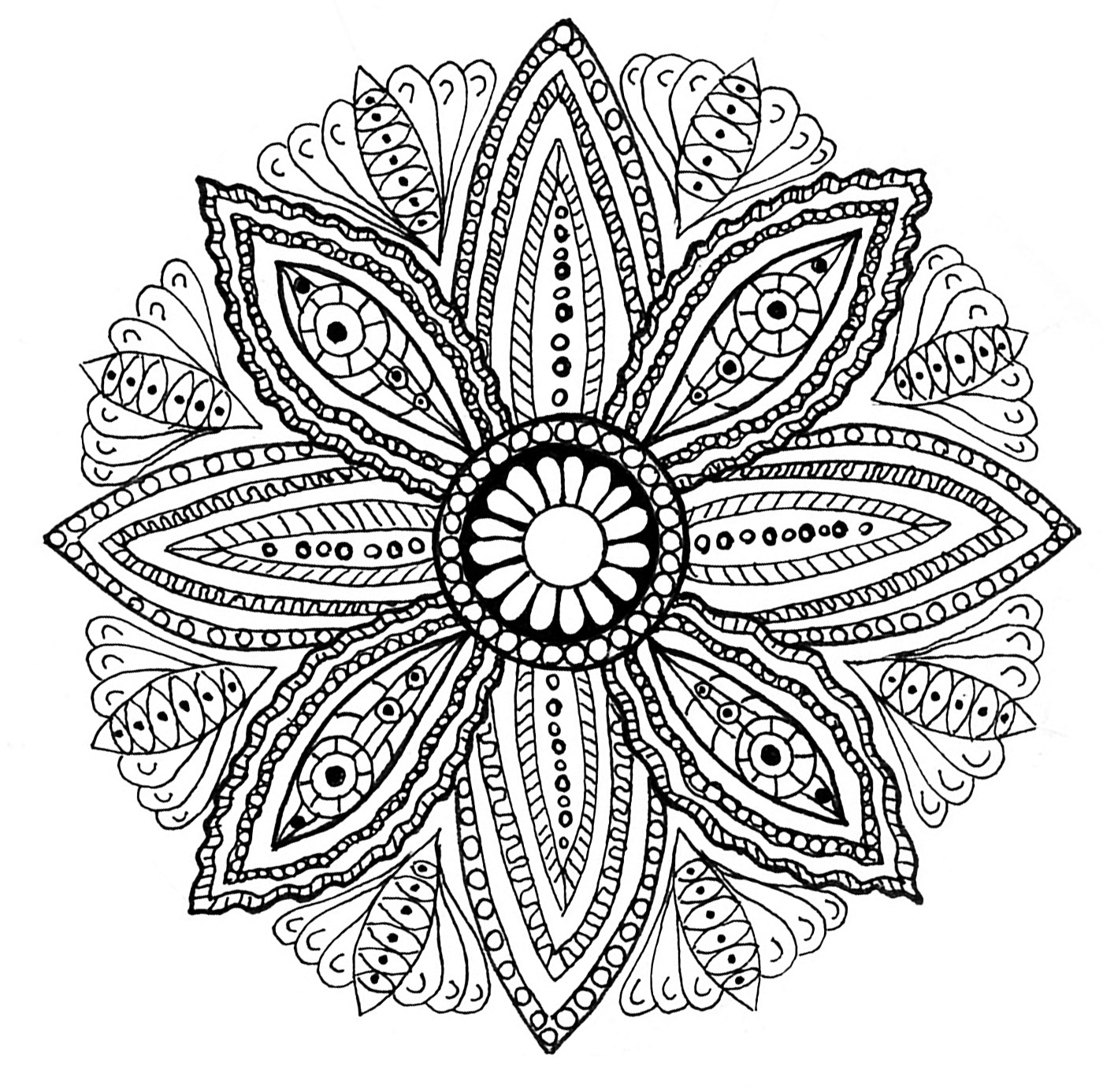 Mandala With Flowers And Leaves