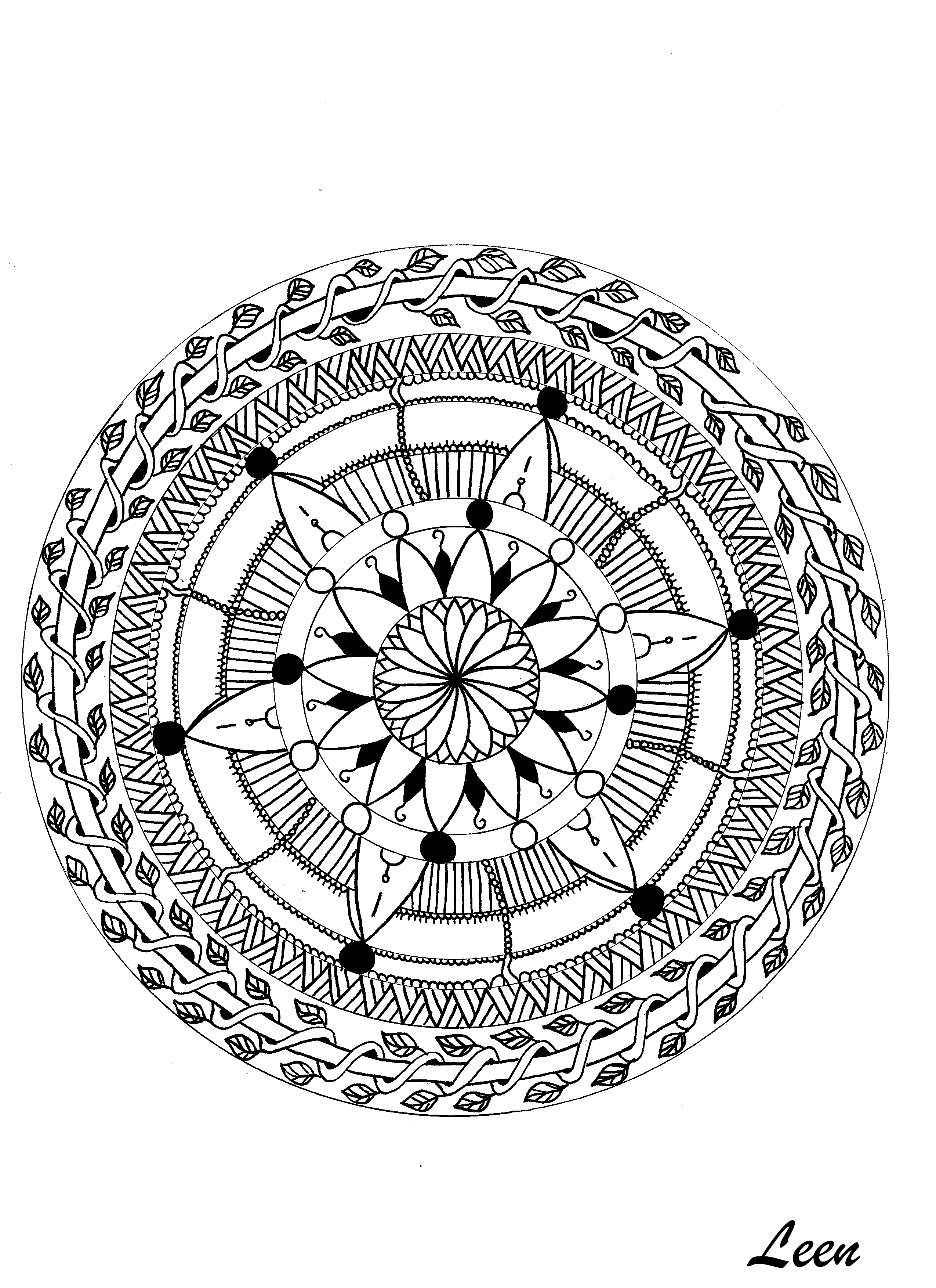 A luxuriant vegetation invades this magnificent Mandala, give it life without delay. Do whatever it takes to get rid of any distractions that may interfere with your coloring.