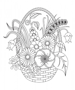 Coloring Page Flowers And Vegetation Cute Basket