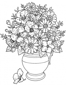 coloring page flowers and vegetation vase