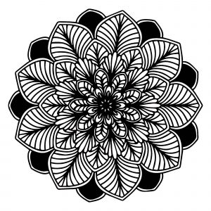 Black & White leaves Mandala