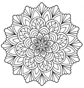 Mandala forming a flower with regular lines