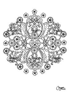 Different flowers in a Mandala