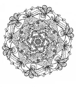 Mandala with butterflies and leaves