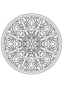 Simple Mandala with hearts and flowers