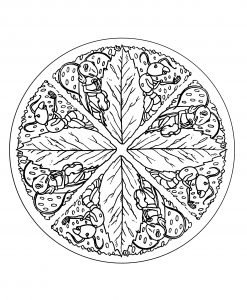 Cute Mandala with For big leaves and ants