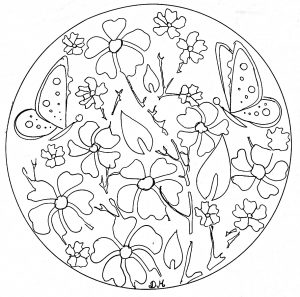 Flowers & butterflies in a Anti-stress Mandala