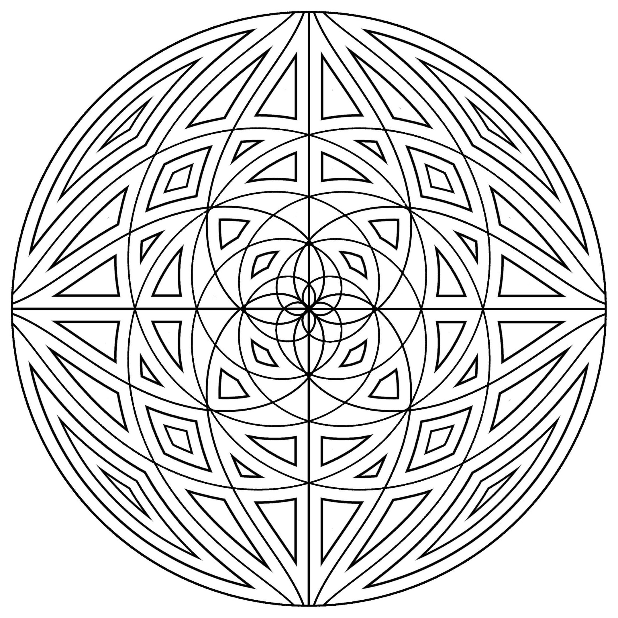 Mandala simple with concentric lines mandalas with for Simple geometric designs coloring pages