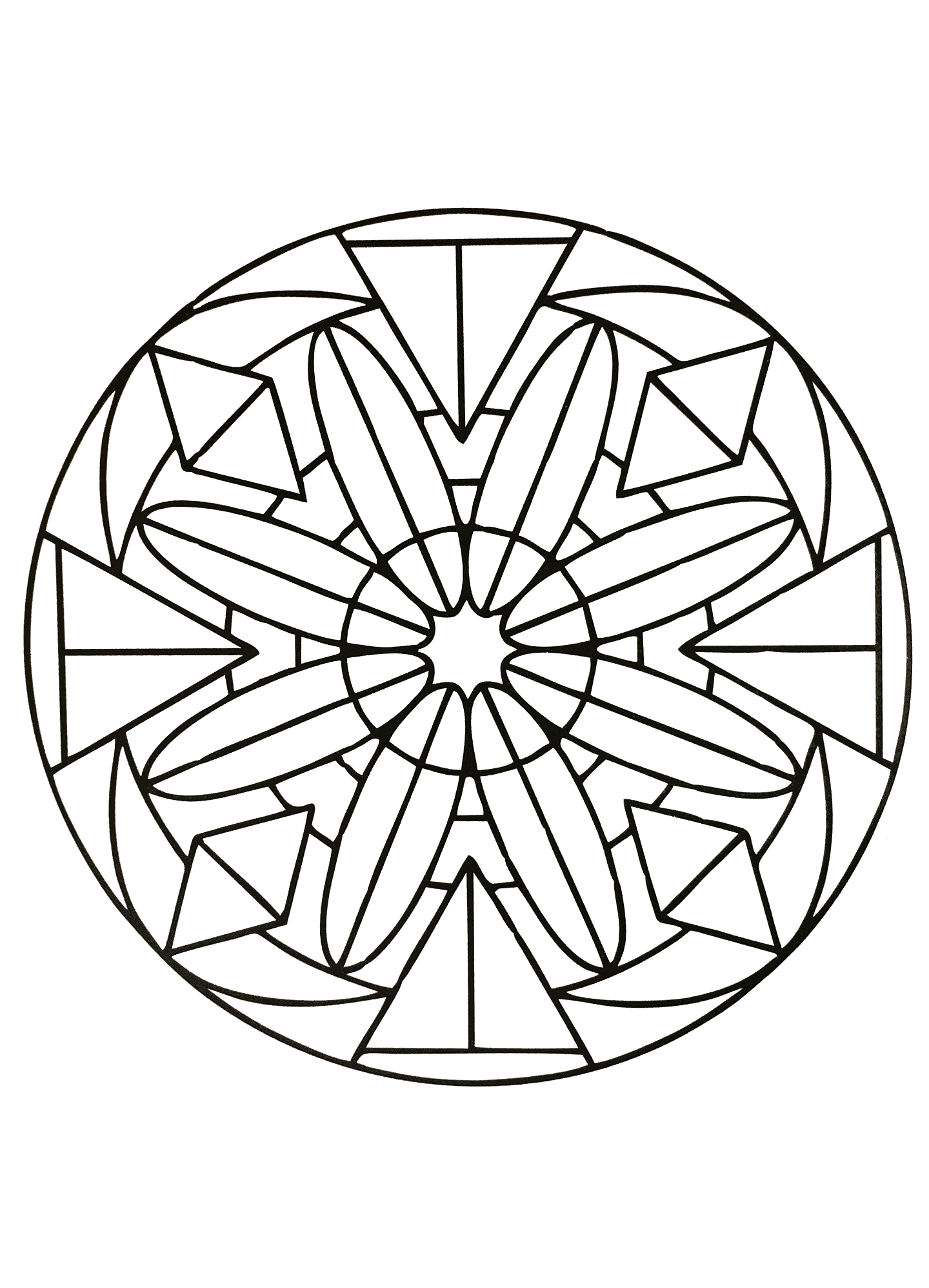 Elegant and harmonious Mandala ... When coloring can really relax you ... This is the case with this Mandala coloring page of high quality.