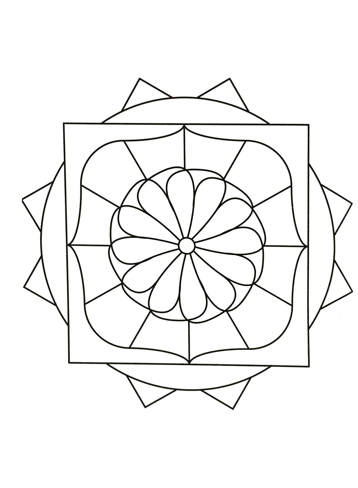 Mandalas geometric to print 22 mandalas with geometric for Geometric flower coloring pages
