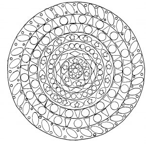 Anti stress hand drawn Mandala with various patterns