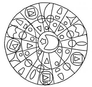 Hand drawn Mandala with geometric elements