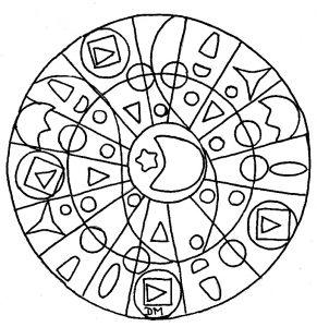 Hand drawn Mandala with moon & stars