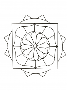 Funny Mandala with little flower in the middle