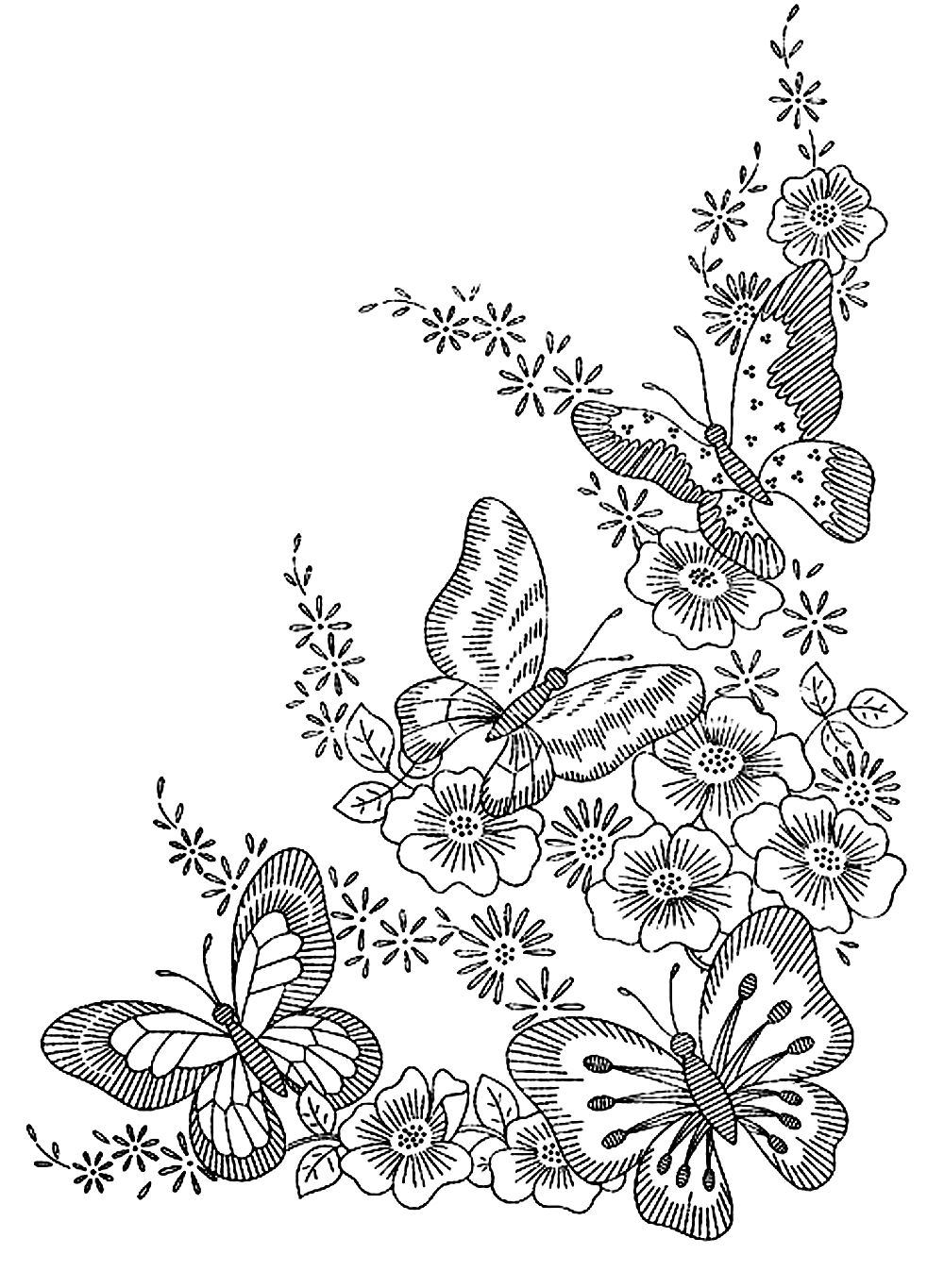 Difficult butterfly coloring pages - Butterflies In The Nature