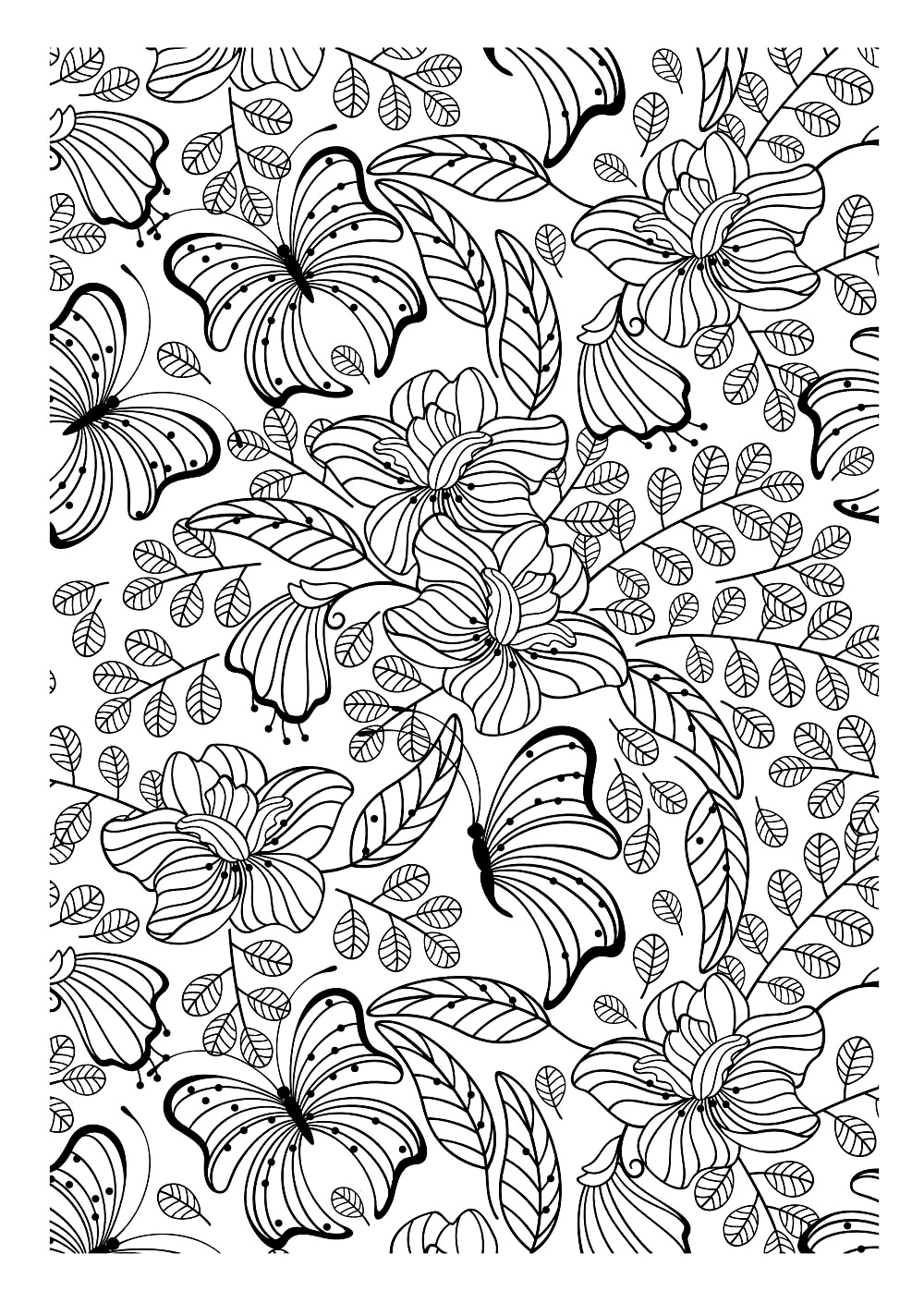 Butterflies - Insects Coloring pages - 100% Mandalas Zen & Anti-stress