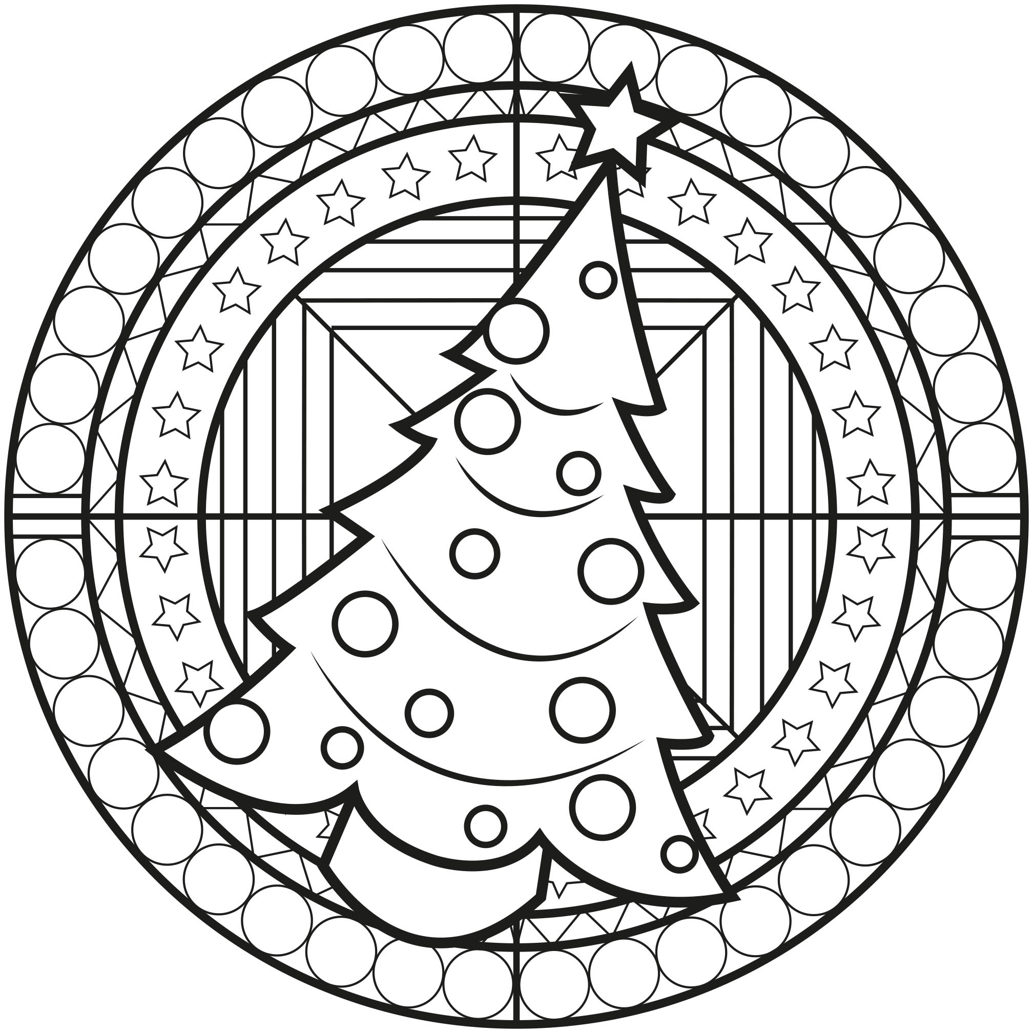 Christmas Tree Mandala - Simple Mandalas - 100% Mandalas ...