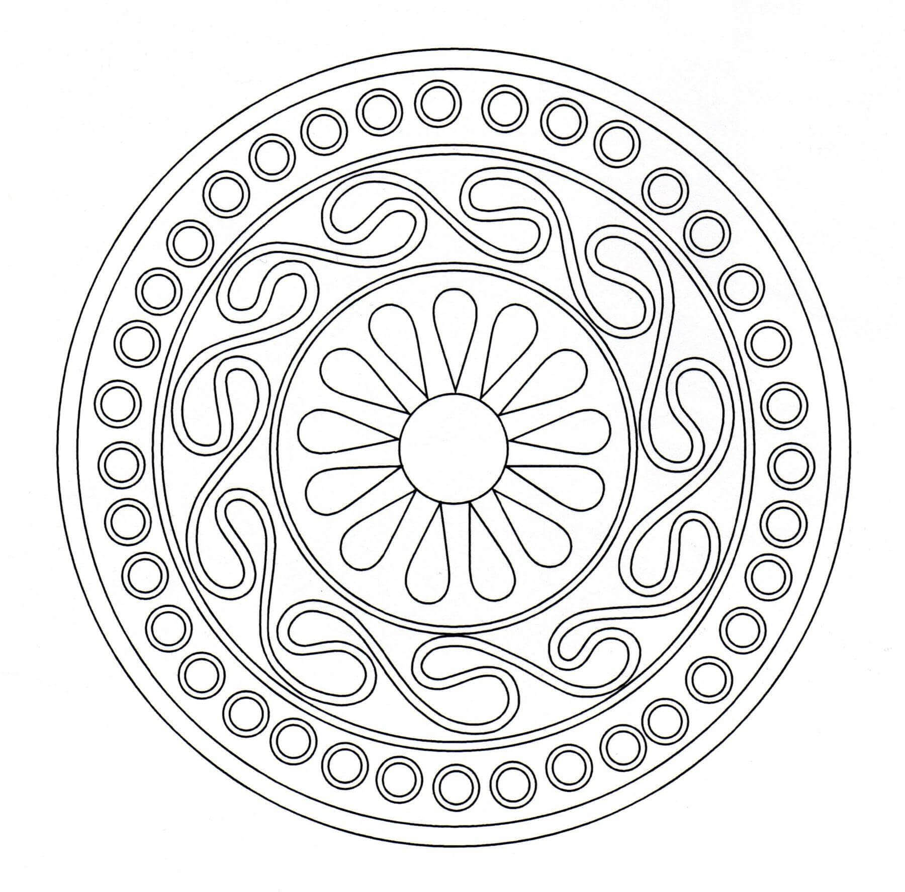 Details relatively simple to color, for a Mandala coloring page very unique and of high quality. You must clear your mind and allow yourself to forget all your worries and responsibilities.