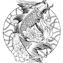 mandala-fish-carp free to print