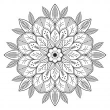 Mandala flowery and leafy