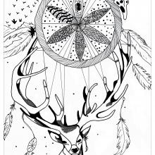 mandala to print deer detante par valentin