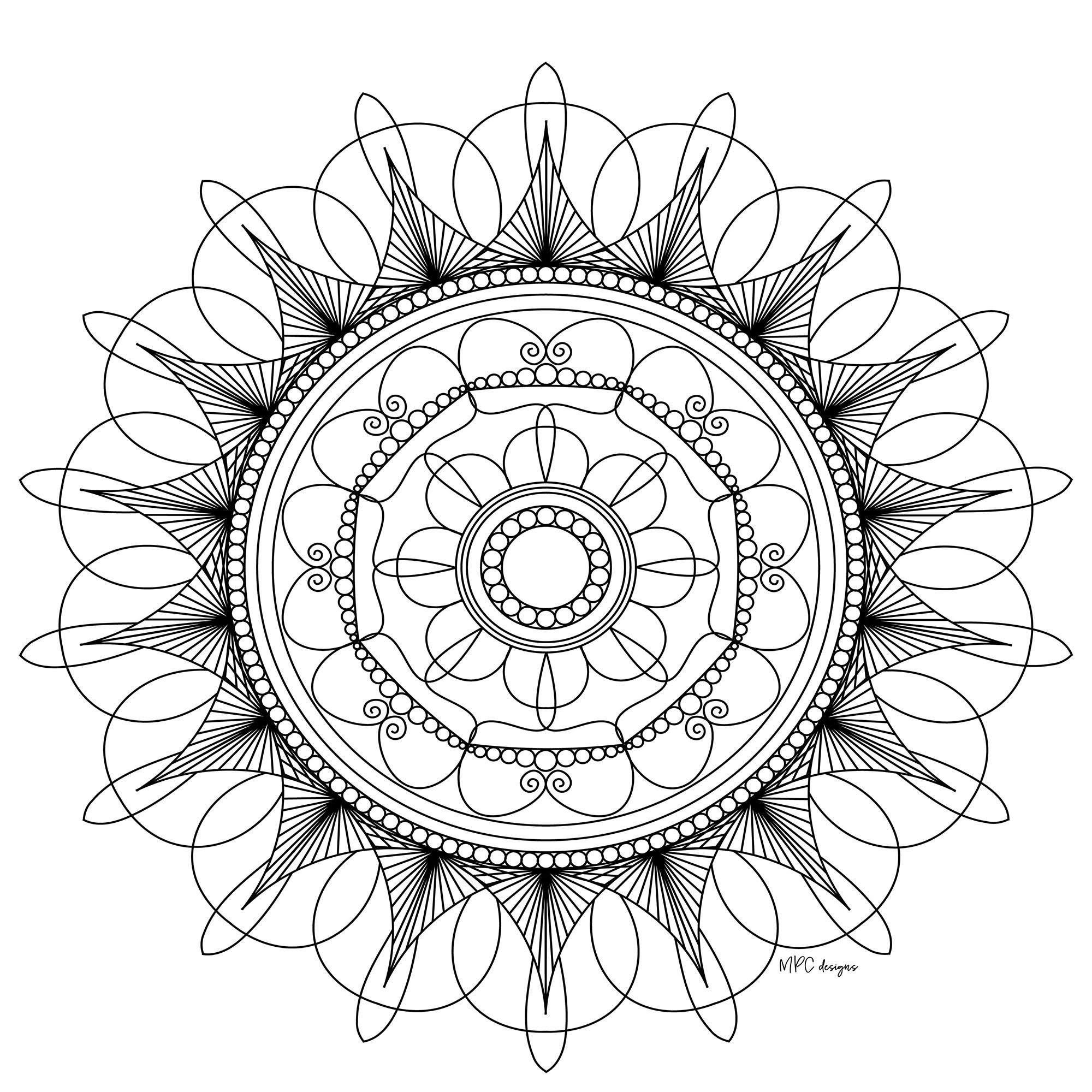 A Mandala of 'standard' difficulty level, which will be suitable for kids and adults who just want to color. Still your mind : this step is essential to get the most out of coloring to reduce your anxiety & stress.