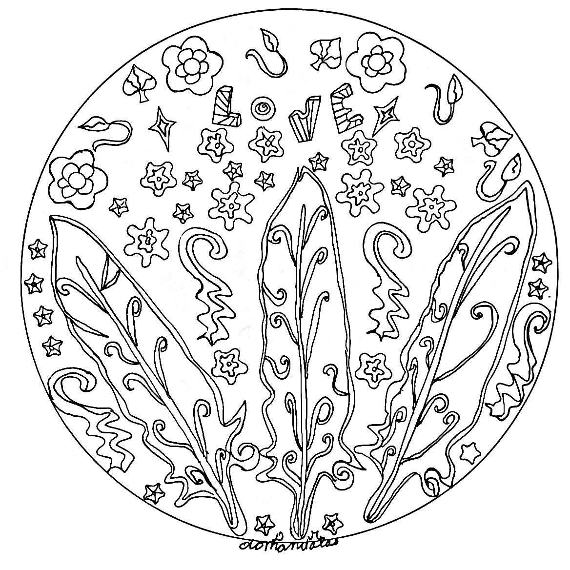 Details relatively easy to color, for a Mandala coloring page very original and of high quality. Feel free to let your instincts decide where to color, and what colors to choose.