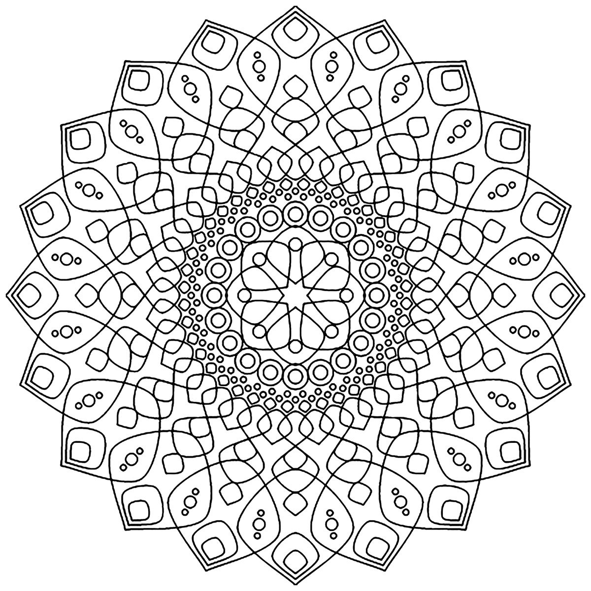 This Mandala coloring page is perfectly and totally soothing and calming ... Its patterns are simple and elegant.