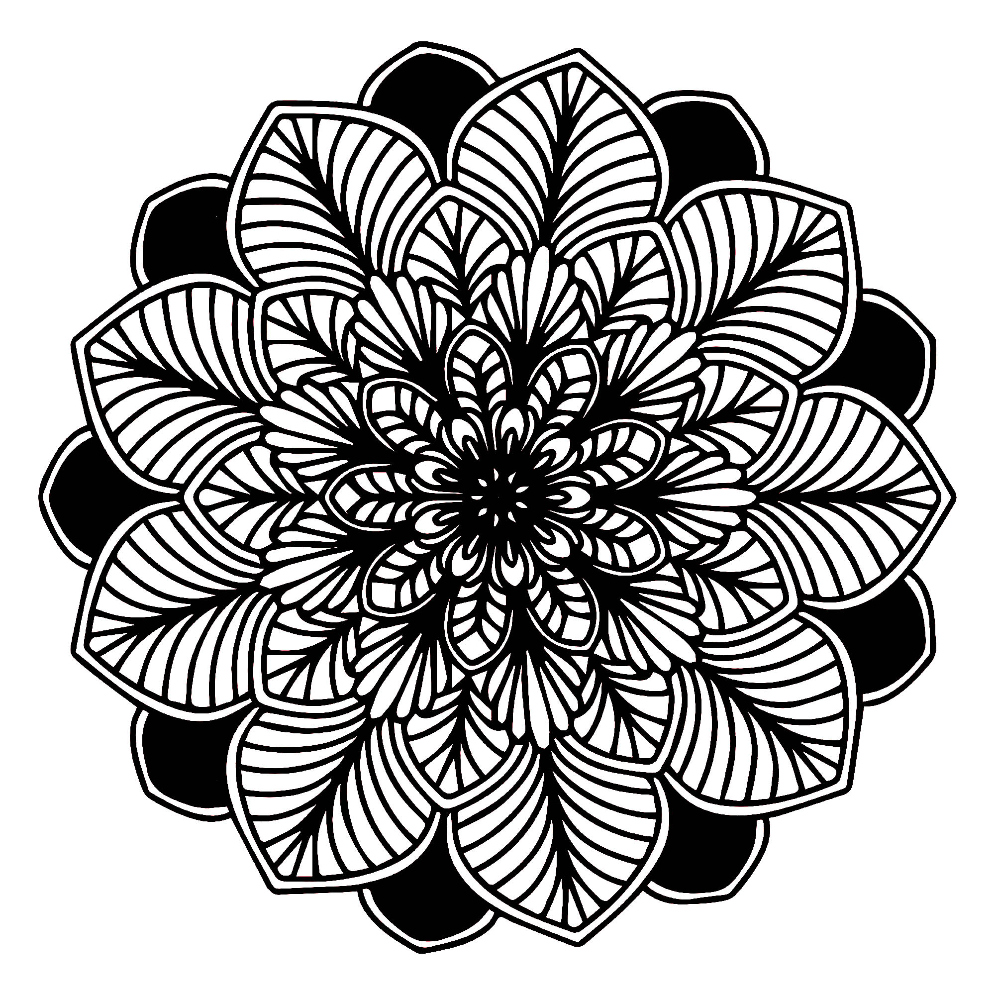 A Mandala of 'standard' difficulty level, which will be suitable for children and adults who want coloring neither too simple nor too difficult.