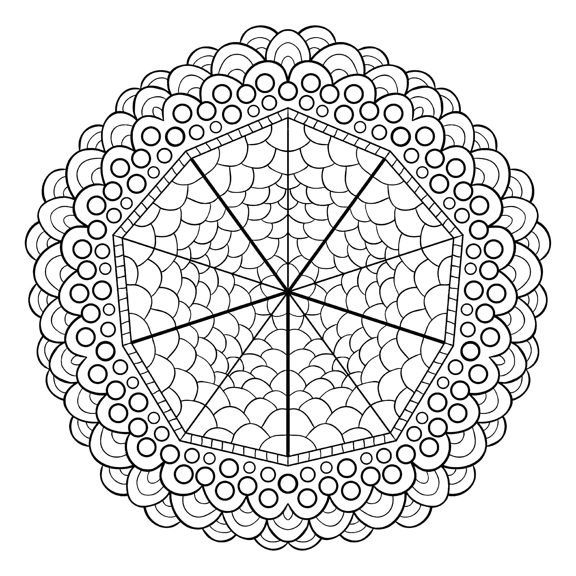If you are looking for a Mandala not too complicated to color, but still with a relative difficulty level, this one is perfect for you. Do whatever it takes to get rid of any distractions that may interfere with your coloring.