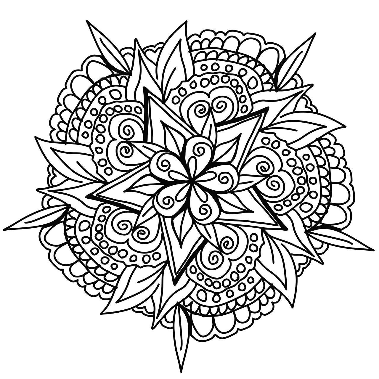 Vegetal hand drawn Mandala, full of creativity and artistic sense ... Color these beautiful petals and leaves with the colors you like the most.